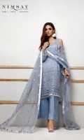 Embroidered net shirt paired with embroidered net dupatta and cotton silk inner