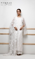 Overall embroidered net shirt with embroidered patch for hem and sleeves. paired with embroidered net dupatta and cotton silk inner.