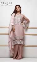 Transparent sequin embroidered shirt with silver zari cotton dupatta and cotton silk inner