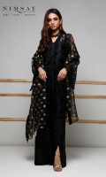Heavy embroidered net shirt paired with zari organza dupatta and cotton silk inner