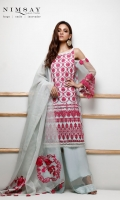 Sequin embroidered net shirt with orgazna dupatta and embroidered dupatta patches with cotton silk inner.