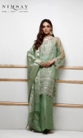 Embroidered net shirt paired with floral zari organza dupatta and cotton silk inner