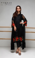 Sequin embroidered net shirt with vibrant embroidered floral patch for hem and sleeves, paired with embroidered net dupatta and cotton silk inner.