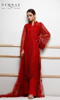 Overall embroidered net shirt paired with embroidered net dupatta and cotton silk inner