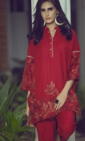 Subtle and chic 2 piece dress with embroidered khaddar shirt and straight trouser with embroidery on hem.