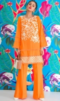 Perfectly designed 2 piece linen dress with embroidered shirt front, printed back and boot cut linen trouser