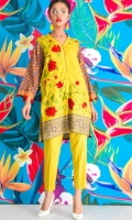Eye catching& bright 2 piece dress with embroidered linen shirt, printed sleeves, and straight linen trouser.