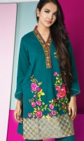 Elegant shirt in deep teal with bold floral asymmetrical embriodery at bottom with embroidery patti at neck and plain dyed trouser.