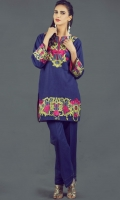 Exquisite 2 piece dress with embroidered khaddar shirt and flared khaddar trouser.