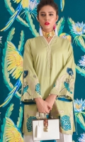 Smart shirt with floral embroidery on front hem and sleeves.