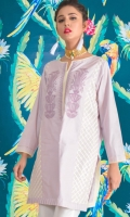 Elegant shirt with embroidered front complimented with accessory detailing on sleeves.