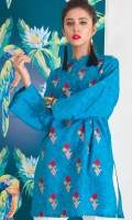 Beautifully contrast embroidered motif spray in centre completes with the button details on neck
