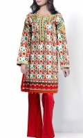 Printed shirt with a blend of floral and geometric embroidery