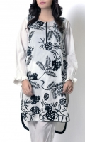 White shirt with bold black thread embroidery at front gives monochrome perfect look