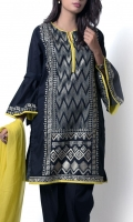 Black shirt with geometrical inspired embroidered central pannel with bell sleeves paired with trouser and contrast plain chiffon dupatta