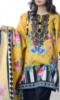 Yellow embroidered top with classic pottery floral design in pink and blue with monochrome striped hemline paired with same color lawn dupatta