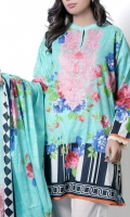 Turquish embroidered top with classic pottery floral design in pink and blue with monochrome striped hemline paired with same color lawn dupatta