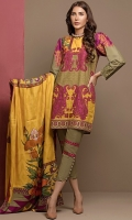 Digital printed khaddar shirt with embroidery on sleeve cuff, paired with digital print wool shawl and plain dyed trouser.