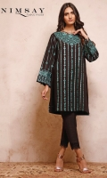 Embroidered khaddar top paired with khaddar trouser and embroidered lace detail on trouser hem