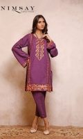 Embroidered khaddar top with pleating detail on sleeves paired with khaddar trouser