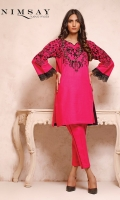 Embroidered khaddar top with embroidered lace detail on sleeves paired with khaddar trouser