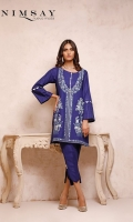 Embroidered khaddar top with pleating and scallop detail on sleeves paired with curve cut trouser