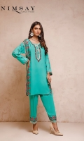 Embroidered linen shirt with button detail on neck paired with linen shalwar
