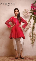 Linen peplum top with pleat detail on front and embroidered sleeves