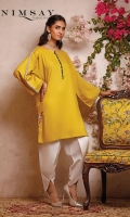 Linen top with embroidered detail on slit. loop detail on neck and lace on sleeves.