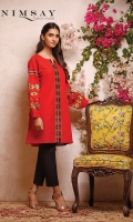 Tribal pattern embroidered khaddar top with balloon sleeves and cuff detail.