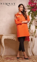 Box cut embroidered khaddar top with yolk detail. front placket and pocket detail. loop and button detail on cuff