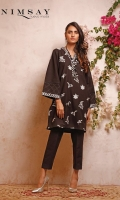 Embroidered khaddar top with pleating and lace detail on sleeves paired with khaddar trouser