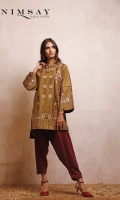 Embroidered khaddar shirt with ruffles detail on neck, paired with contrast shalwar