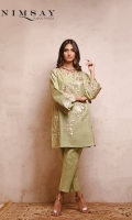 Embroidered khaddar top with lace detail on front panel and scalloped sleeves paired with pleated khaddar trouser.