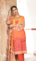 Orange and yellow color blocked offset by modren chinese and floral with rich embroidered bottom