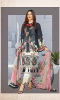 Linen Print Heavy Embroidered Shirt  Printed Back & Sleeves  Bamber Chiffon Dupatta  Dyed Trouser