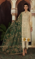 - Digital Printed Super Fine Lawn Shirt: 3 Mtr  -Digital Printed Gold Net Dupatta: 2.5 Mtr  -Dyed Cambric Trouser: 2.5 Mtr  -Embroidered Front + border (Patch)