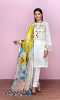 -White Paste Printed Super Fine Lawn Shirt: 3.5 Mtr  -Digital Printed Silk Chiffon Dupatta: 2.5 Mtr  -White Paste Printed Cambric Trouser: 2.5 Mtr  -Embroidered Front + Border (Patch)
