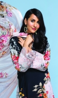 -Digital Printed Super Fine Lawn Shirt: 3Mtr  -Digital Printed Silk Chiffon Dupatta: 2.5 Mtr  -Dyed Cambric Trouser: 2.5 Mtr  -Embroidered Border (Patch)
