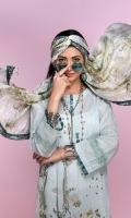 -Digital Printed Super Fine Lawn Shirt: 3Mtr  -Digital Printed Silk Chiffon Dupatta: 2.5 Mtr  -Dyed Cambric Trouser: 2.5 Mtr  -Embroidered Front