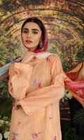 - Digital Printed Super Fine Lawn Shirt: 3 Mtr  - Digital Printed Crinkle Chiffon Dupatta: 2.5 Mtr  - Dyed Cambric Trouser: 2.5 Mtr  - Embroidered Front+ Border (Patch)