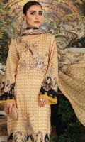 - Digital Printed Super Fine Lawn Shirt: 3 Mtr  - Digital Printed Crinkle Chiffon Dupatta: 2.5 Mtr  - Dyed Cambric Trouser: 2.5 Mtr  - Embroidered Front + Border (Patch)