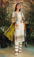 - Digital Printed Super Fine Lawn Shirt: 3 Mtr  - Digital Printed Crinkle Chiffon Dupatta: 2.5 Mtr  -Dyed Cambric Trouser: 2.5 Mtr  -Embroidered Front+ 2 Borders (Patch)