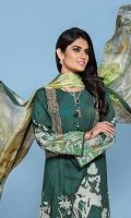-Digital Printed Super Fine Lawn Shirt: 3Mtr  -Digital Printed Silk Chiffon Dupatta: 2.5 Mtr  -Dyed Cambric Trouser: 2.5 Mtr  -2 Embroidered Border (Patch)