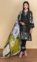 -Digital Printed Super Fine Lawn Shirt: 3Mtr  -Digital Printed Silk Chiffon Dupatta: 2.5 Mtr  -Dyed Cambric Trouser: 2.5 Mtr  -Embroidered Front + Border (Patch)