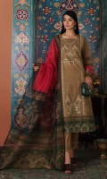 - Digital Printed Super Fine Lawn Shirt: 3 Mtr  -Digital Printed Gold Net Dupatta: 2.5 Mtr  -Dyed Cambric Trouser: 2.5 Mtr  -Embroidered Front