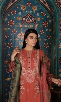 -Printed Super Fine Lawn Shirt: 3.5 Mtr  -Digital Printed Gold Net Dupatta: 2.5 Mtr  -Dyed Cambric Trouser: 2.5 Mtr  -Embroidered Front + Border (Patch)