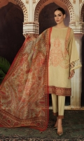 -Printed Super Fine Lawn Shirt: 3.5 Mtr  -Digital Printed Gold Net Dupatta: 2.5 Mtr  -Dyed Cambric Trouser: 2.5 Mtr  -Embroidered Front