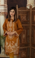 """-Printed Super Fine Lawn Shirt: 2.25 Mtr (59"""" width)  -Gold Printed Cambric Trouser: 2.25 Mtr   -Embroidered Front + Border (Patch)"""