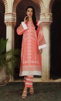 """- Printed Super Fine Lawn Shirt: 2 Mtr (59"""" Width)  -Printed Cambric Trouser: 2 Mtr (59"""" Width)  -Embroidered Front + Sleeve + Border (Patch)"""